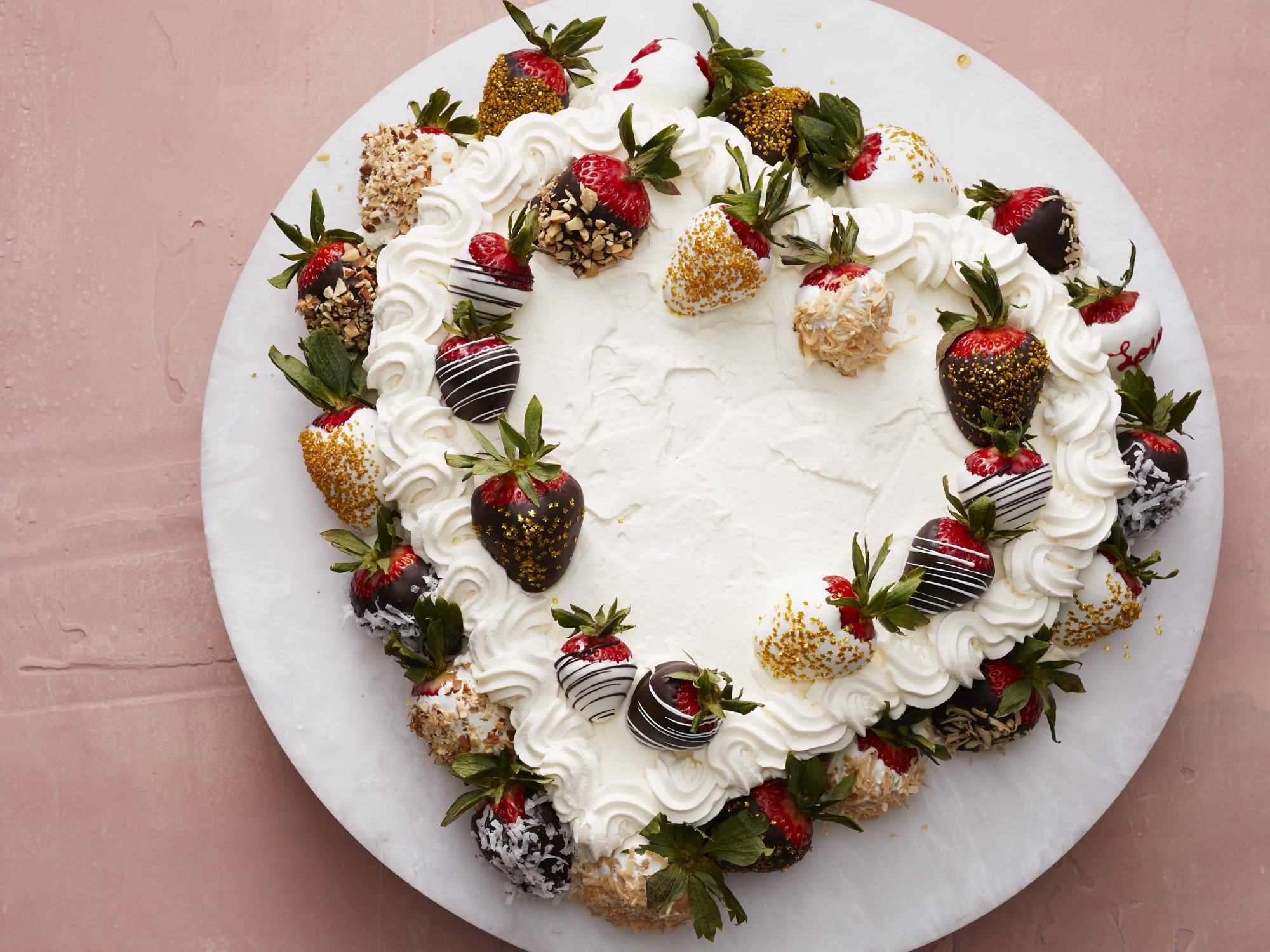 mr-Strawberry Valentine Cake with Chocolate Dipped Strawberries image