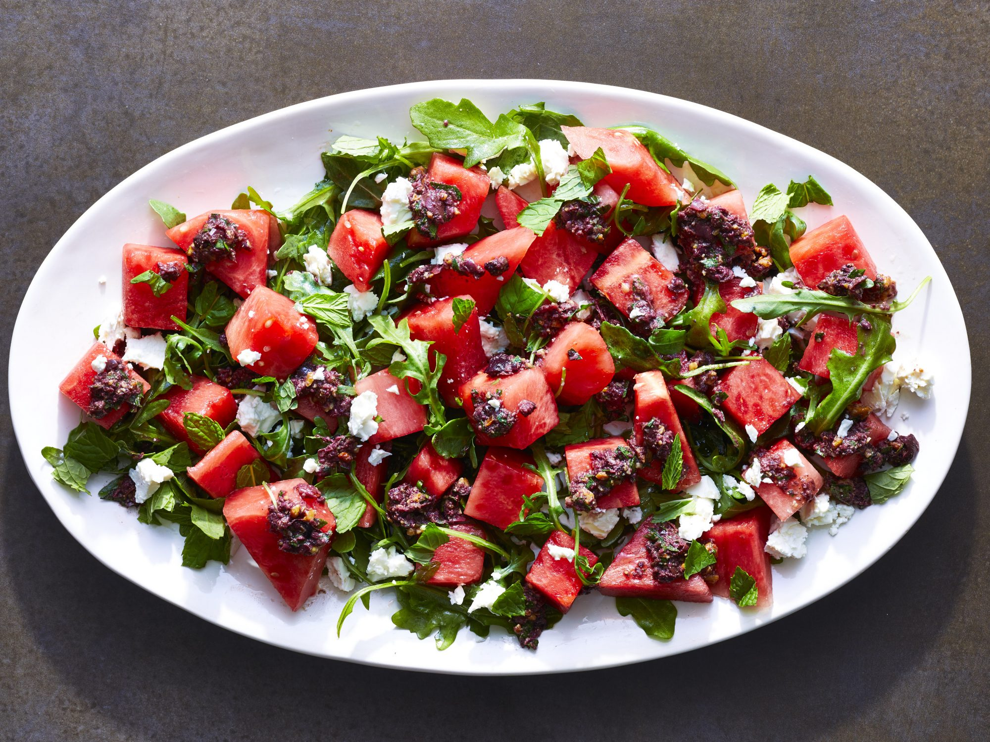 Watermelon Salad with Kalamata Olive Vinaigrette