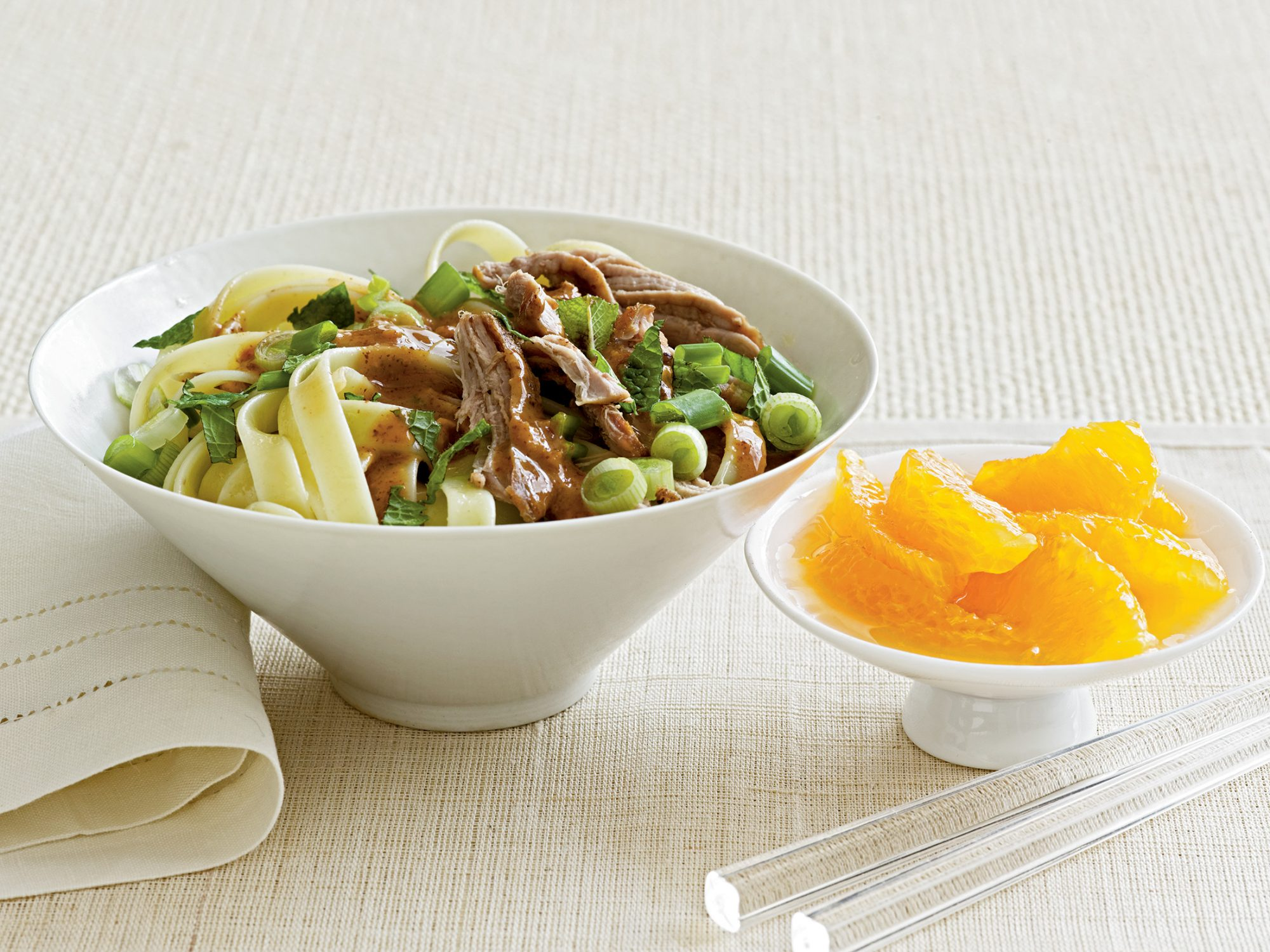 Noodles with Roast Pork and Almond Sauce