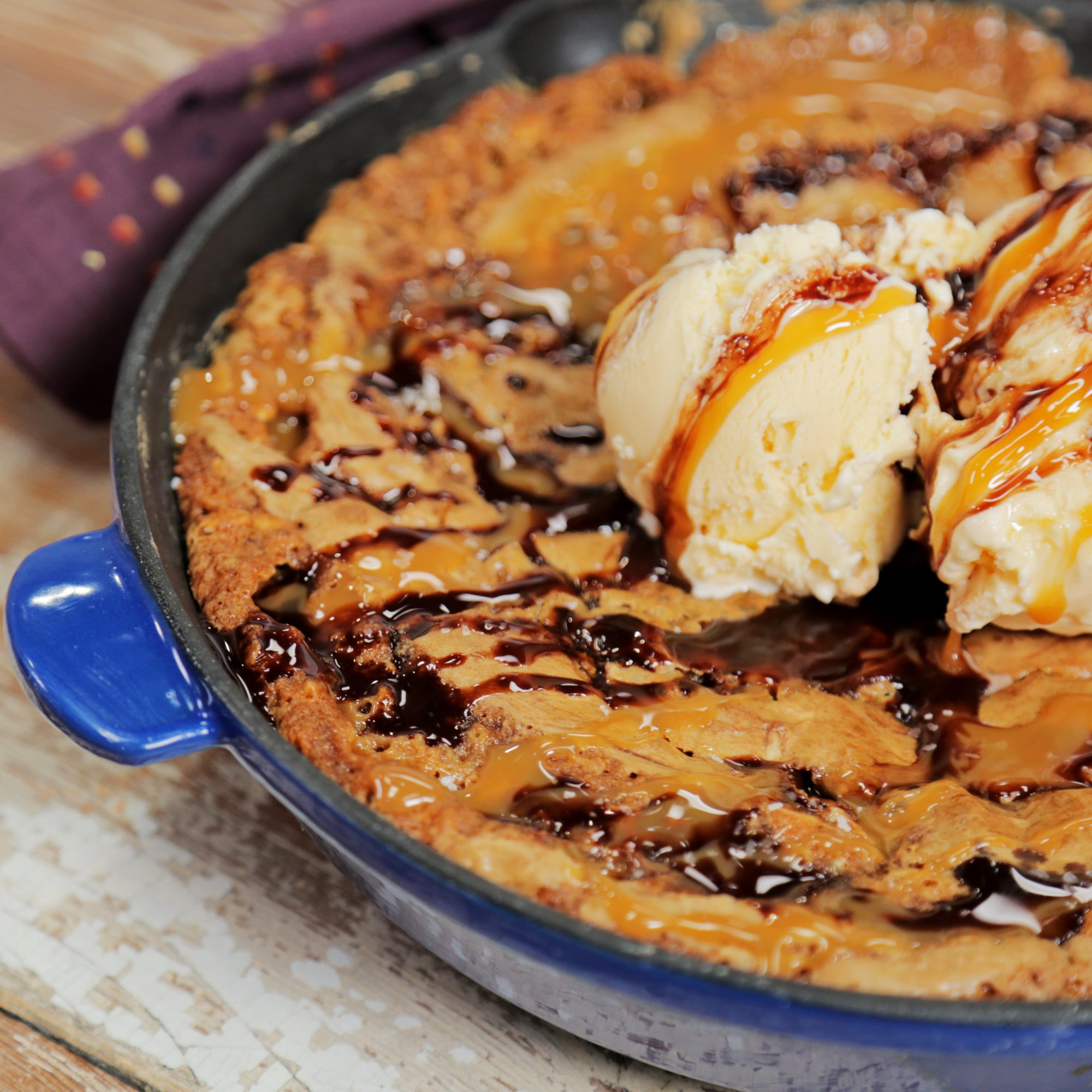 Oatmeal Chocolate Chunk Skillet Cookie with Salted Caramel