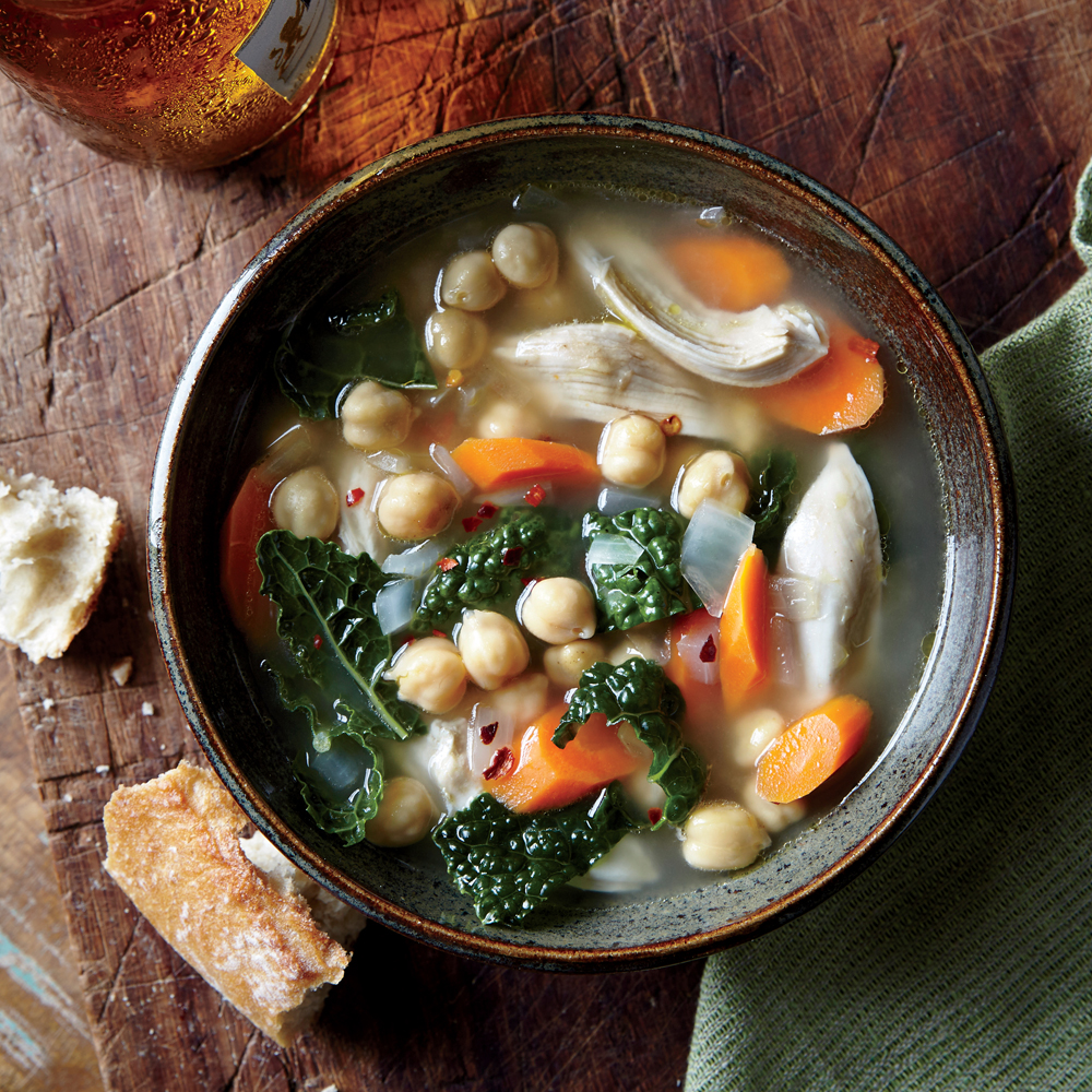Onion, Kale, Chickpea, and Chicken Soup
