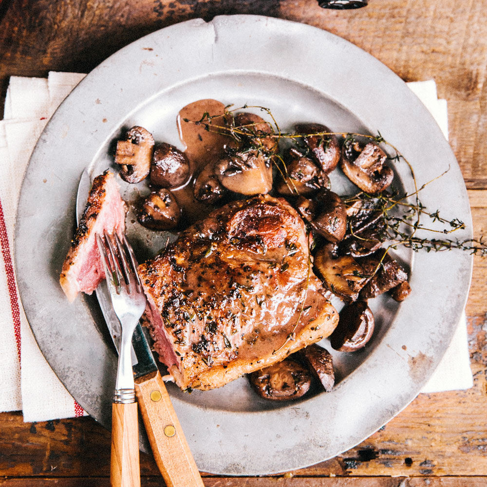 Pan Seared New York Steak with Mushrooms