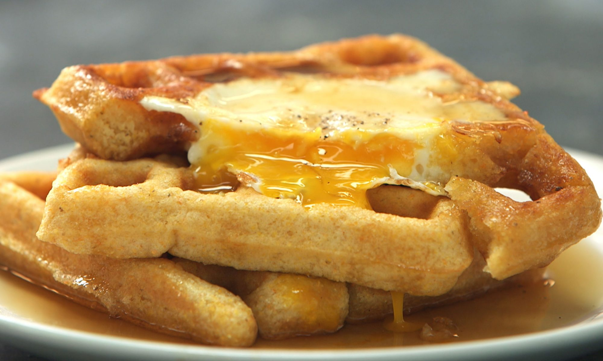 Egg in a Waffle Hole Is What Breakfast Dreams Are Made Of