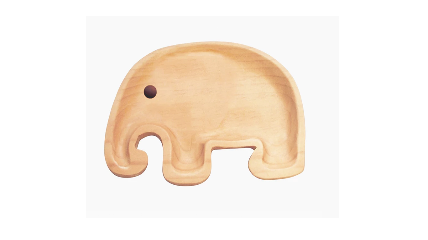 Kids Wooden Elephant Plate