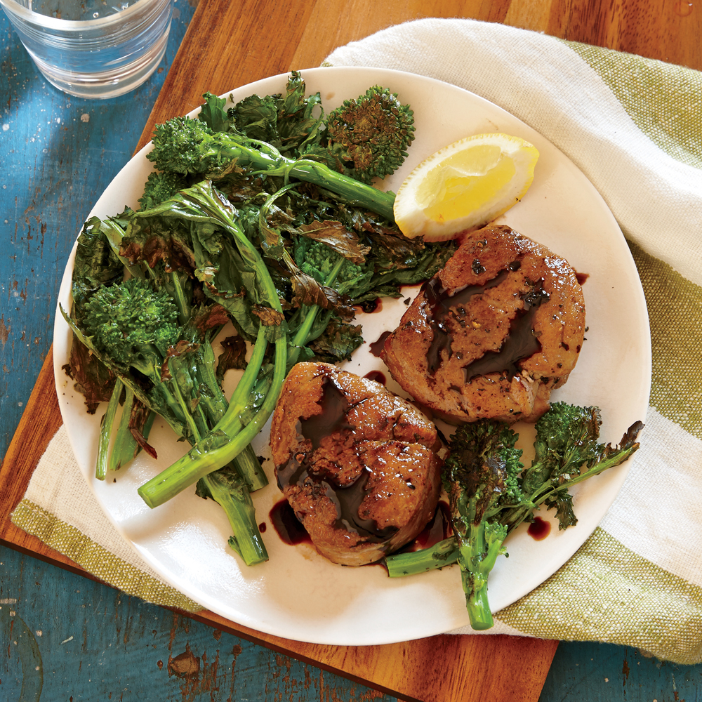Pork Tenderloin Medallions with Blistered Broccoli Rabe