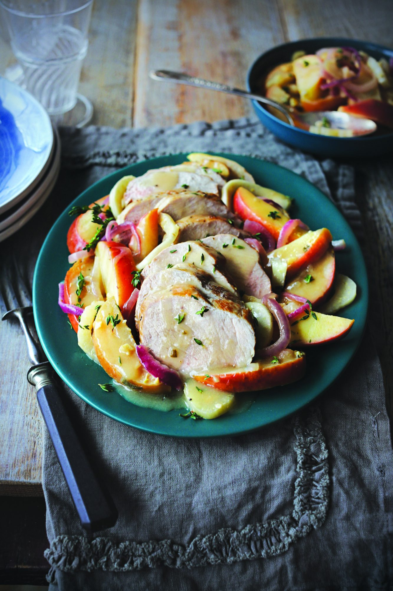 Pork Loin with Ginger, Fennel, and Apples