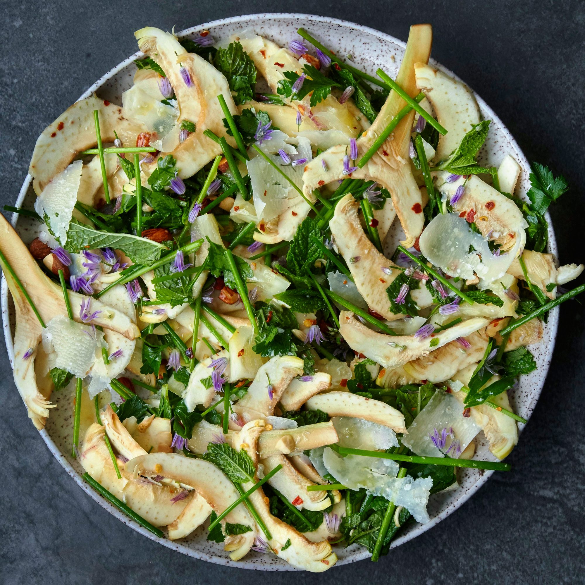 Raw Artichoke Salad with Herbs, Almonds, and Parmigiano