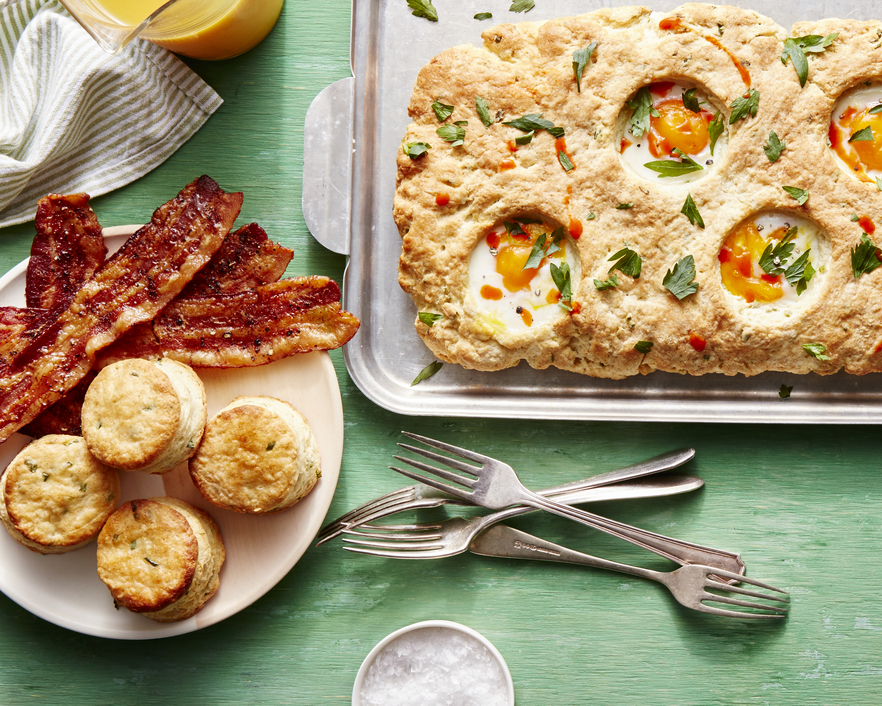 Sheet Pan Ricotta-Chive Biscuits with Baked Eggs