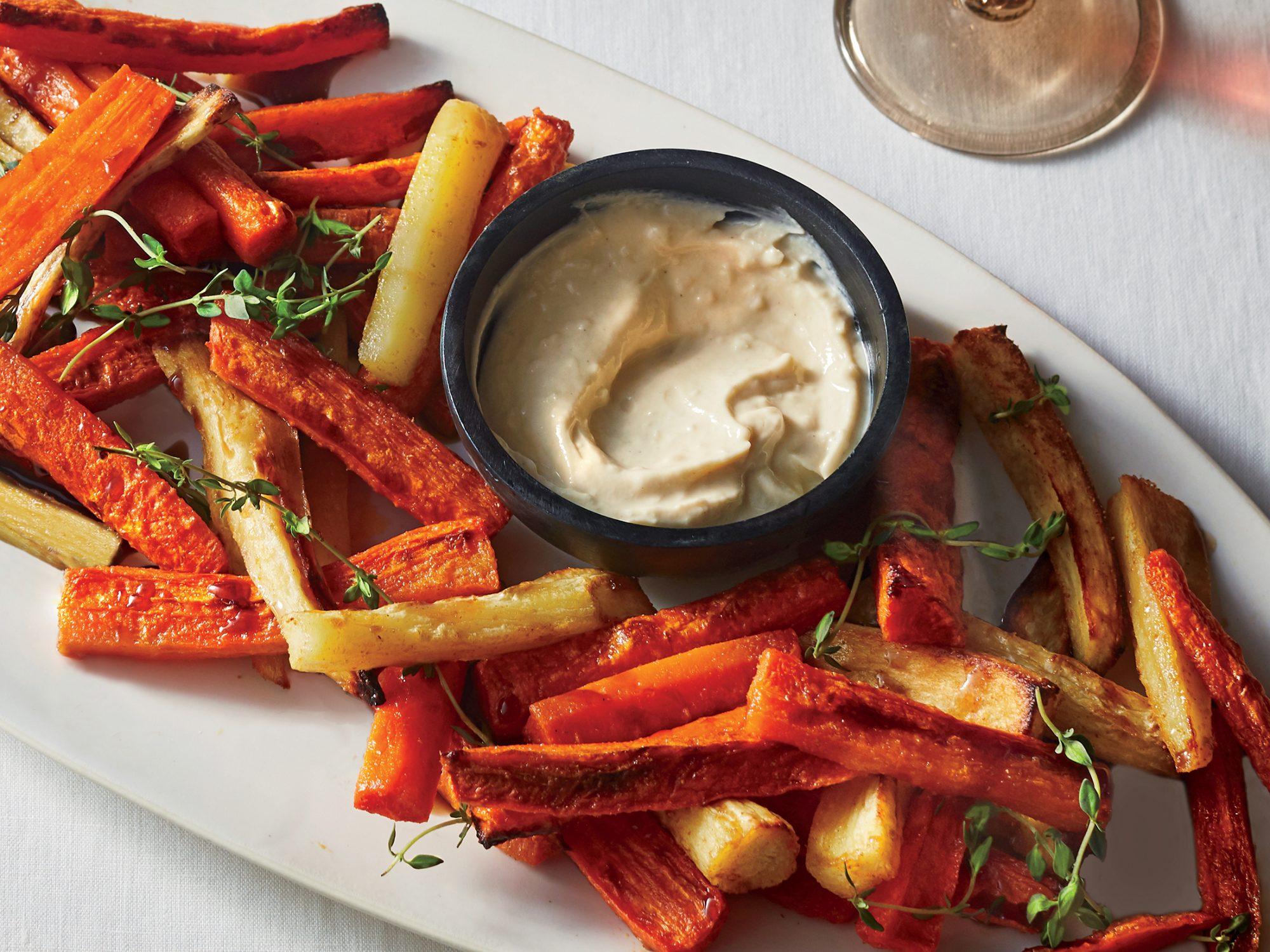 Roasted Carrot and Parsnip Batons with Tahini Dip