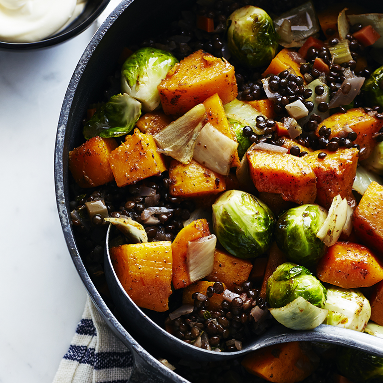 Roasted Fall Vegetables with Lentils and Spices