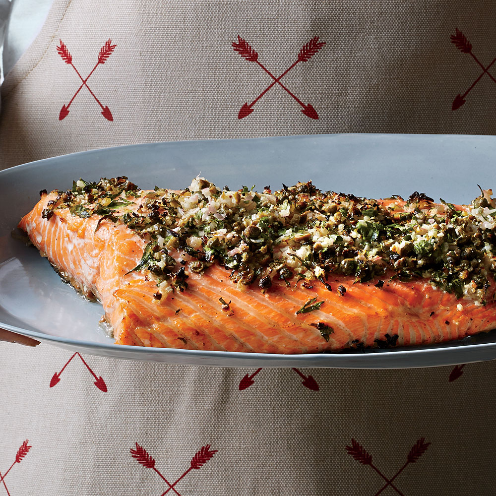 Roasted Salmon with Dill, Capers, and Horseradish