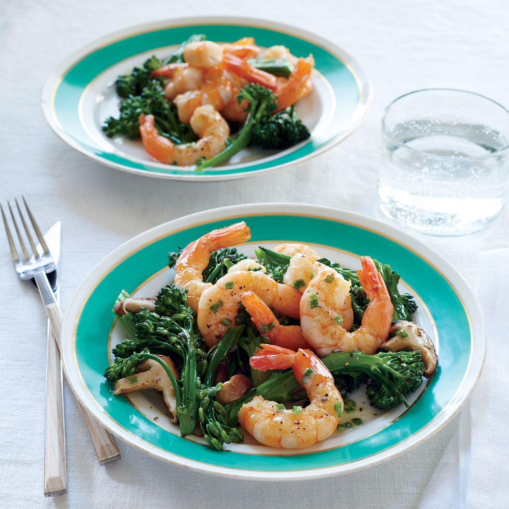 Roasted Shrimp with Mushrooms, Broccolini, and Foaming Chive Butter Sauce