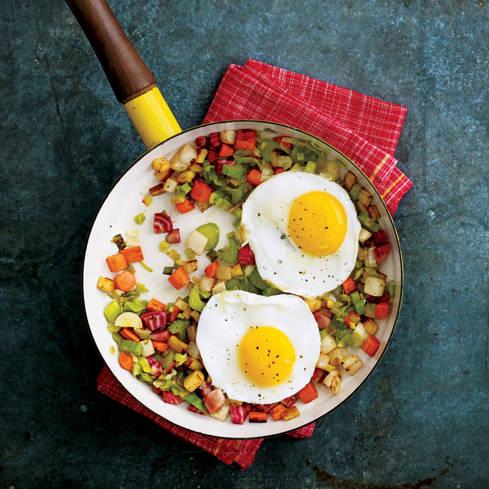 Root Vegetable Hash with Fried Eggs