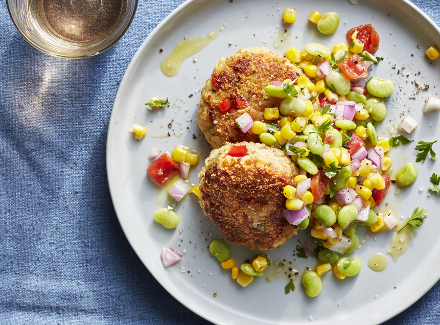 Salmon Croquettes with Succotash