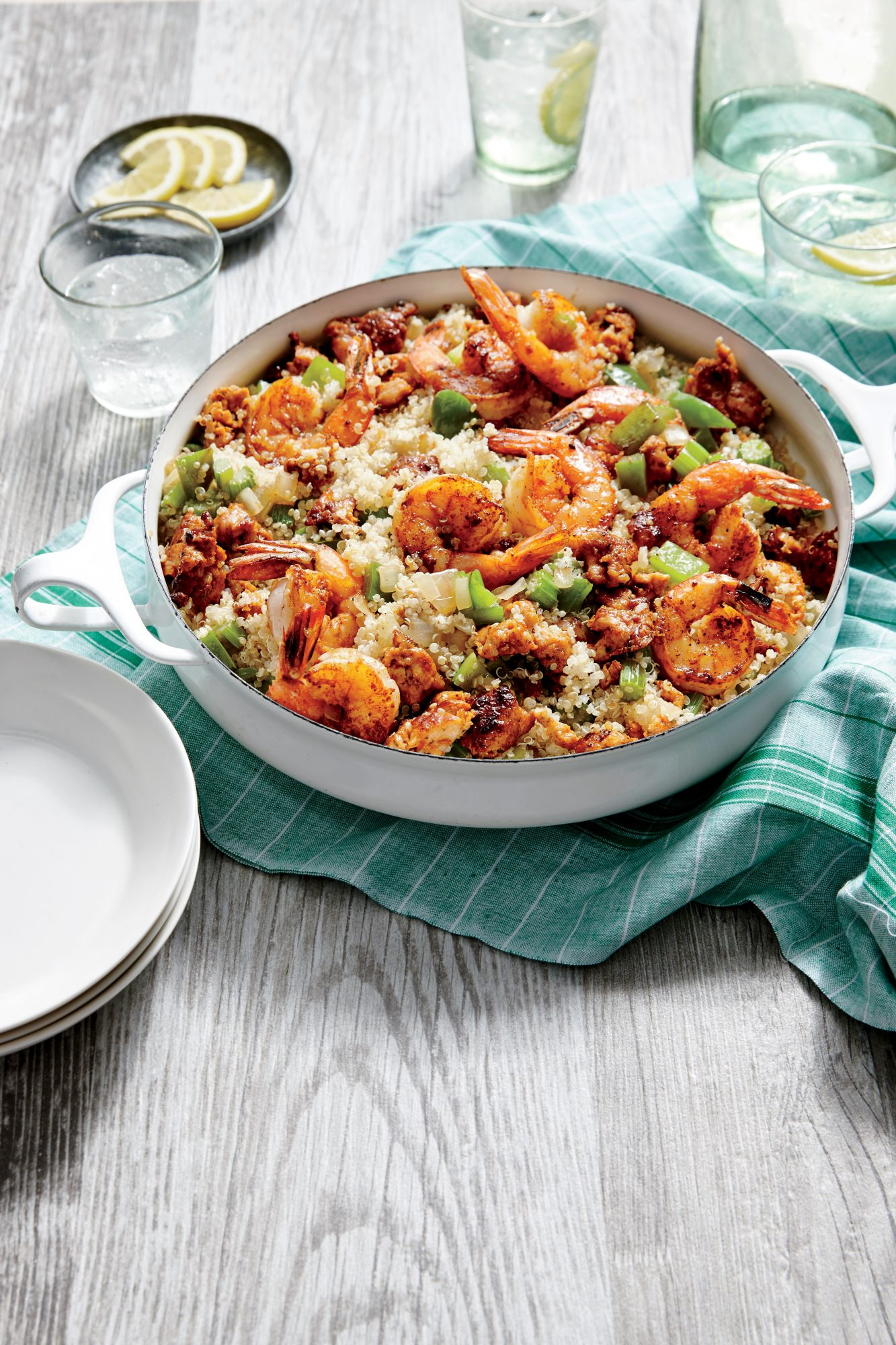 Sausage, Shrimp and Quinoa Skillet