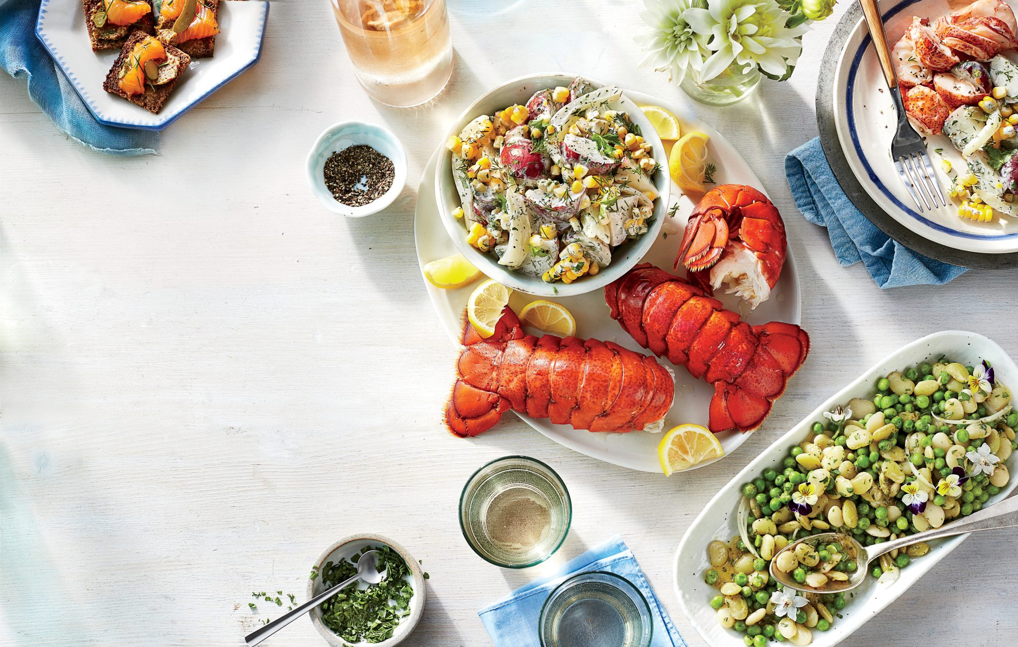 Scandinavian Lobster Boil with Potato, Fennel, and Corn Salad