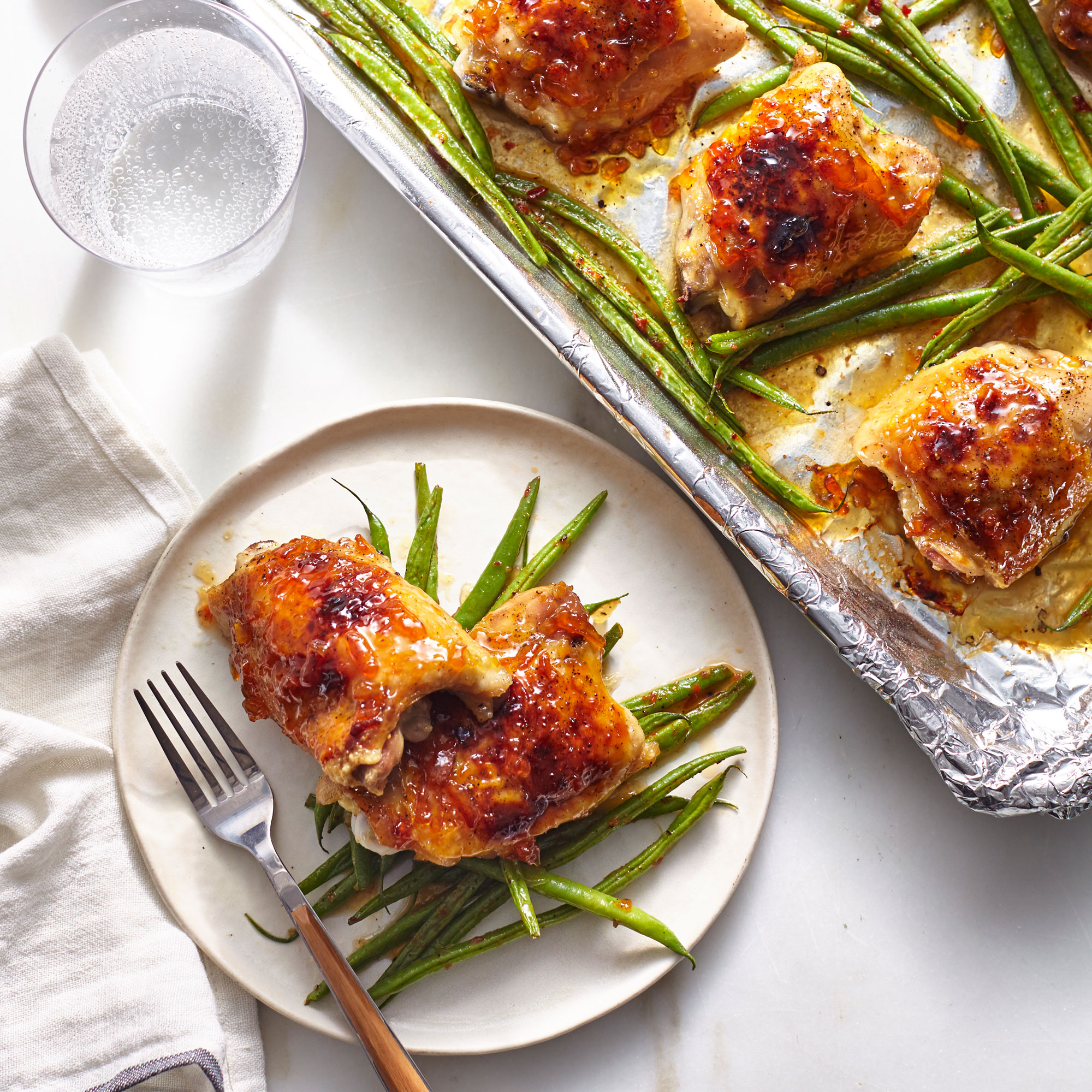 Sheet Pan Orange Chicken with Garlicky Green Beans image