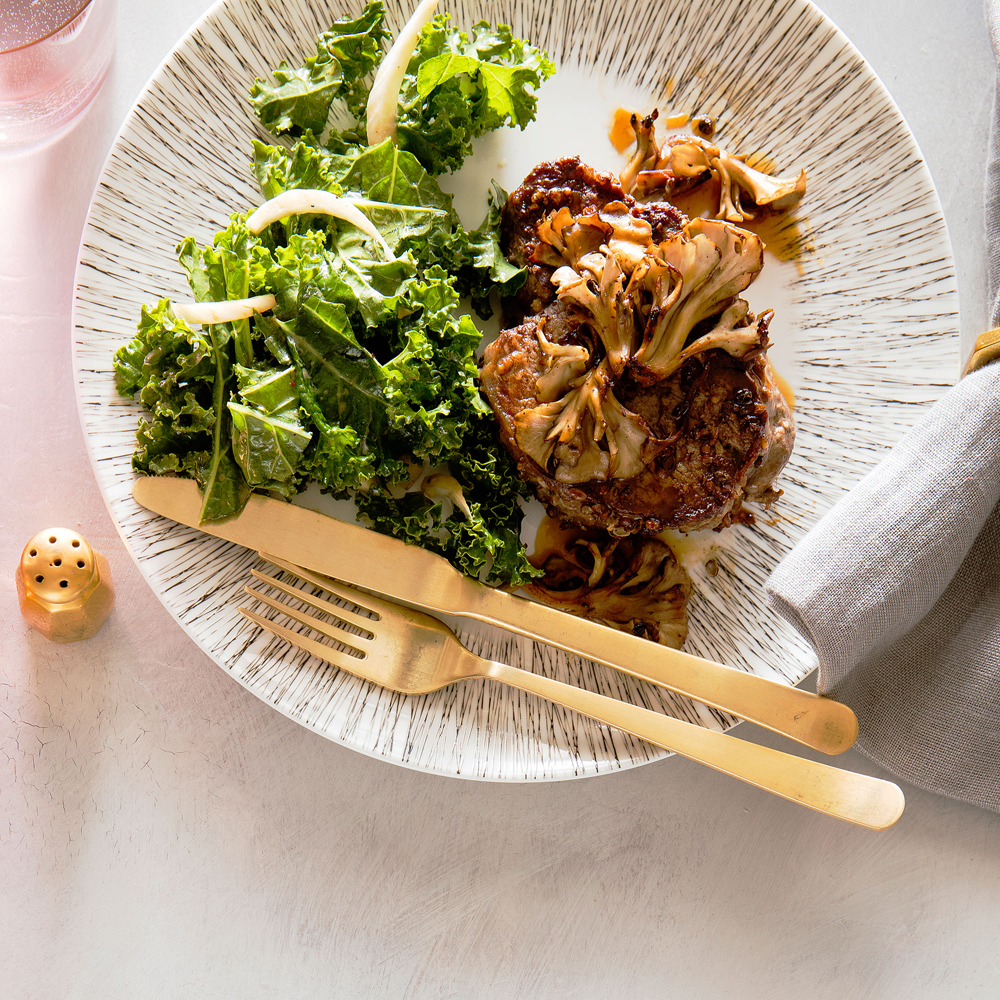 Sichuan Peppercorn Filet Mignon with Crisp Mushrooms and Kale Slaw