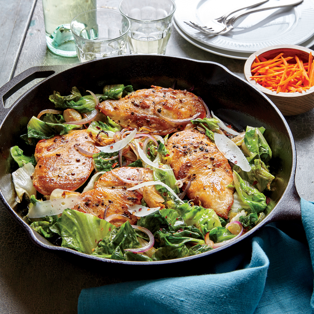 Skillet Chicken with Escarole and Pecorino