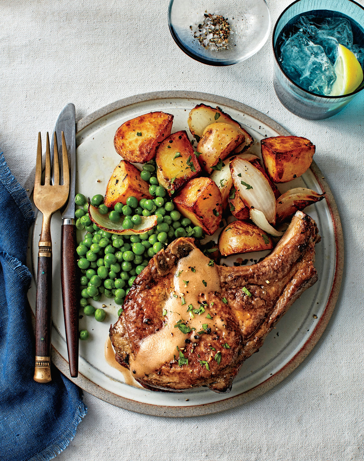 Fried Pork Chops with Peas and Potatoes image