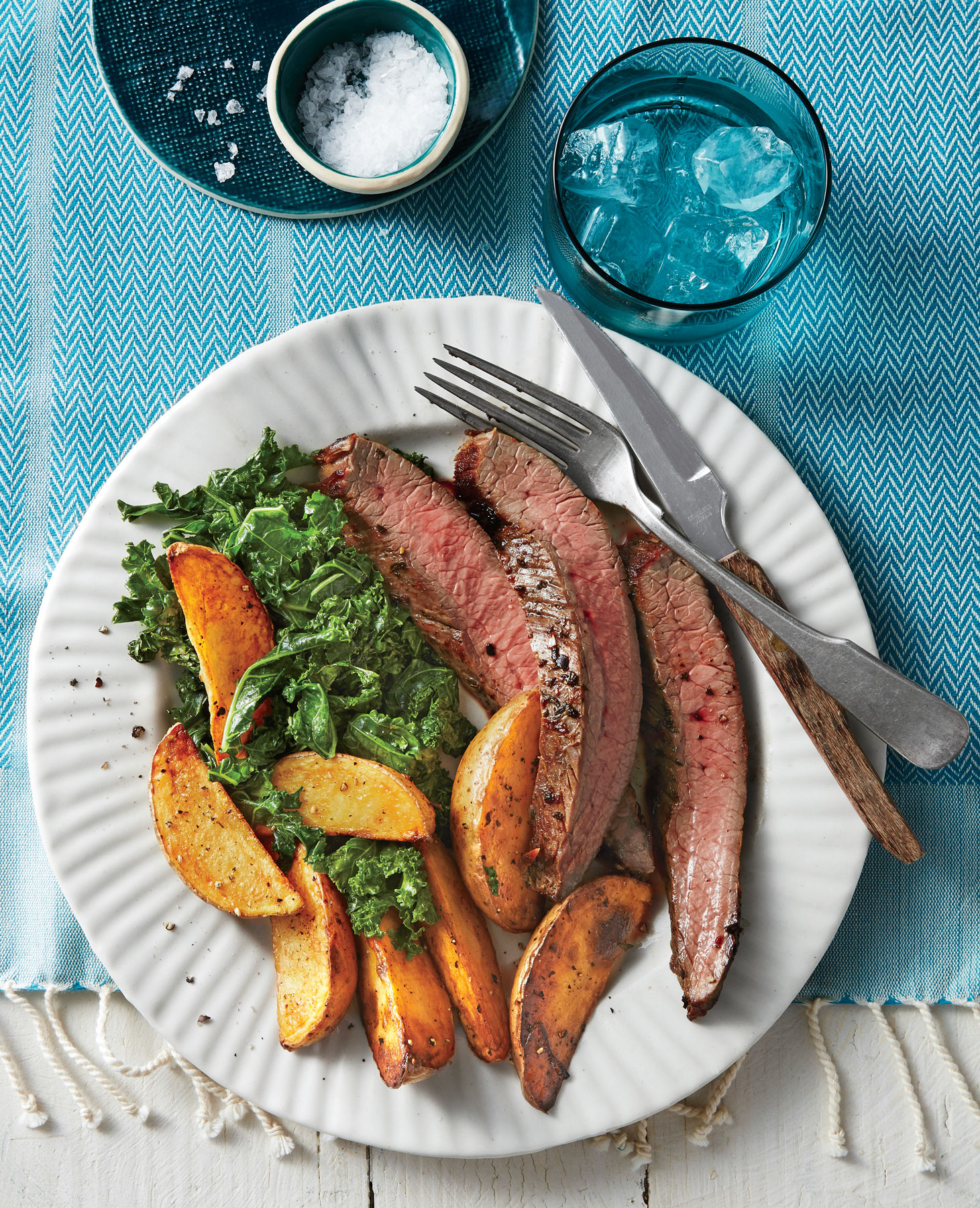 Sheet Pan Flank Steak, Greens, and Yukon Gold Fries image