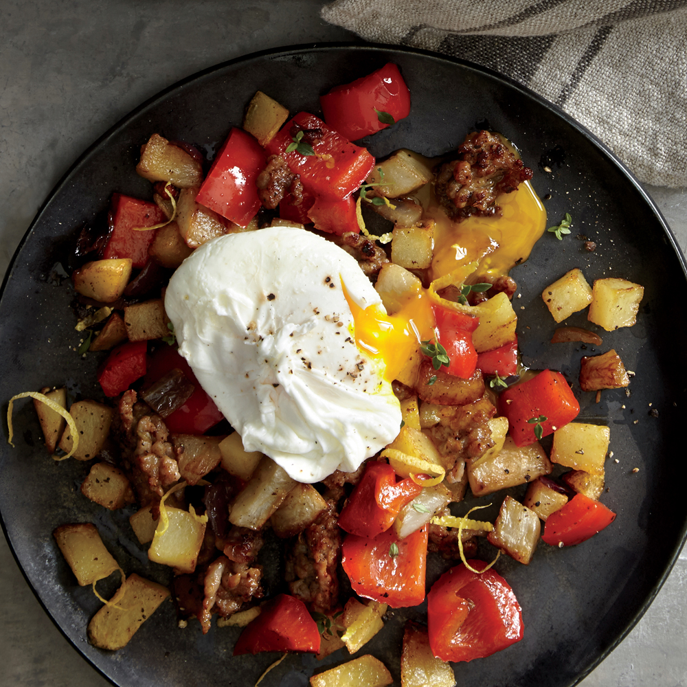 Smoky Sunchoke, Sausage, and Pepper Hash
