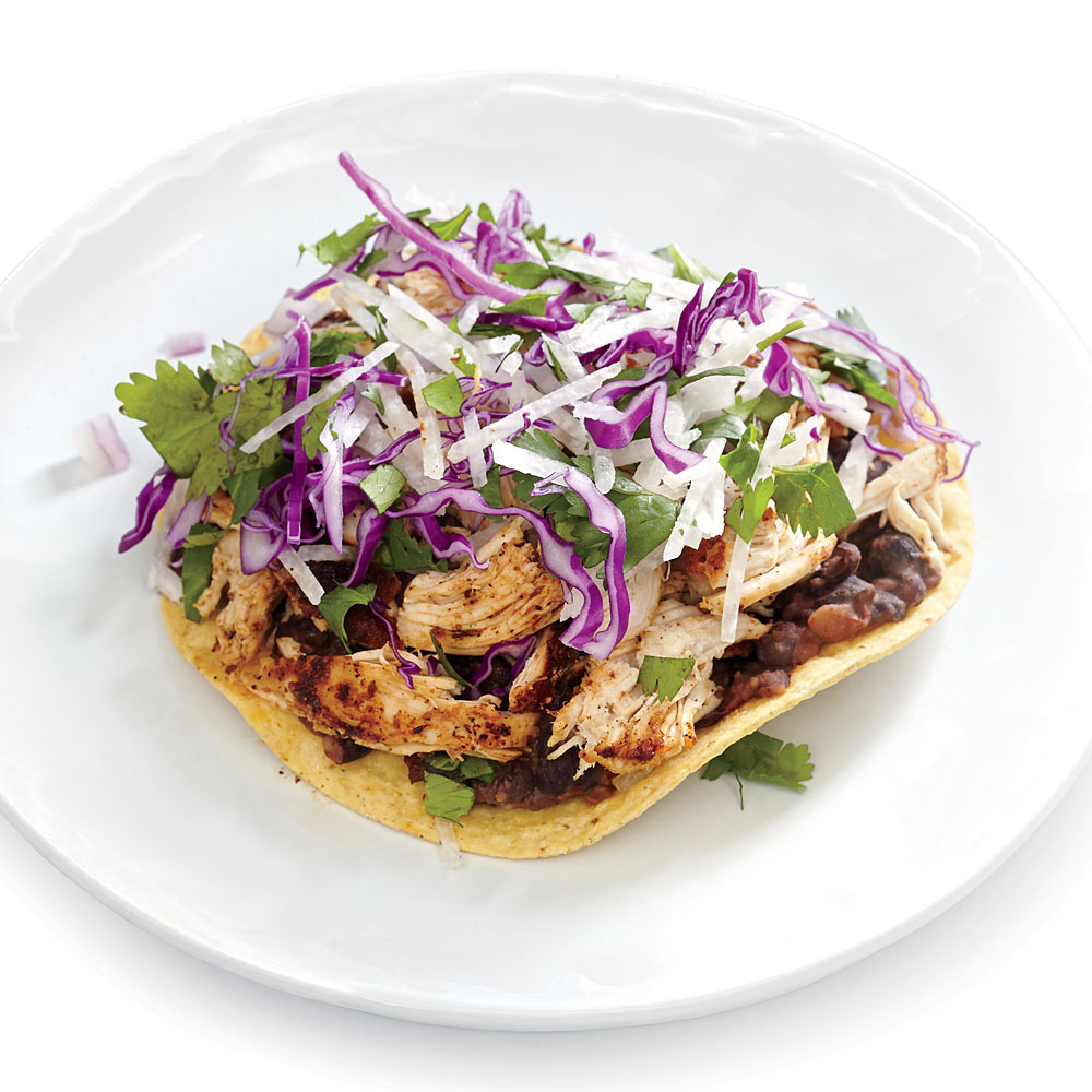 Spicy Chicken and Black Bean Tostadas with Jicama Slaw