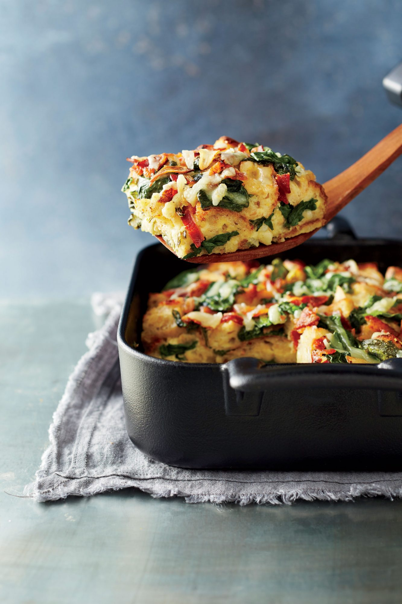 Spinach, Bacon, and Guyere Breakfast Strata image