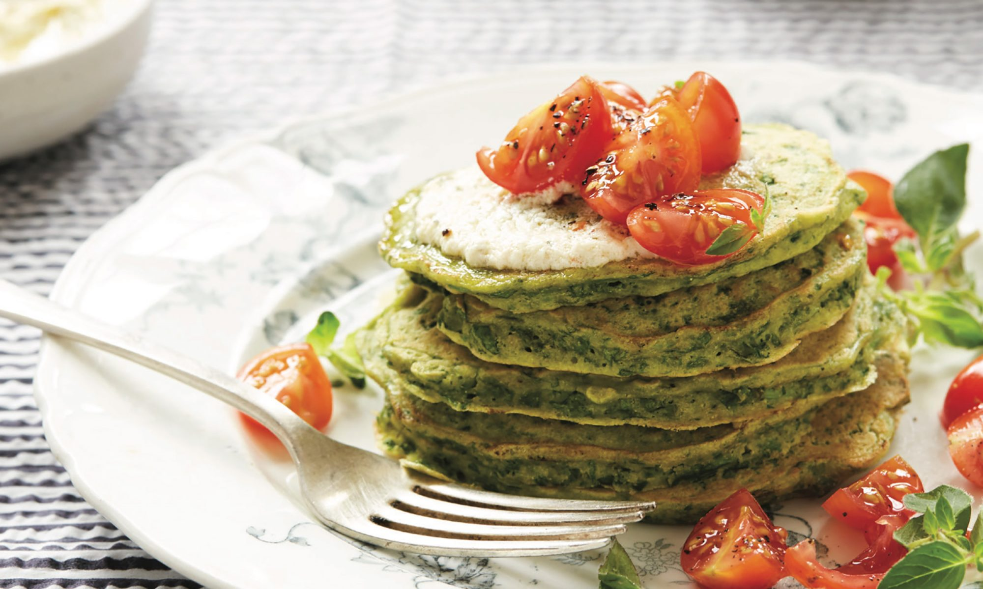 Chickpea and Spinach Pancakes with Feta Butter