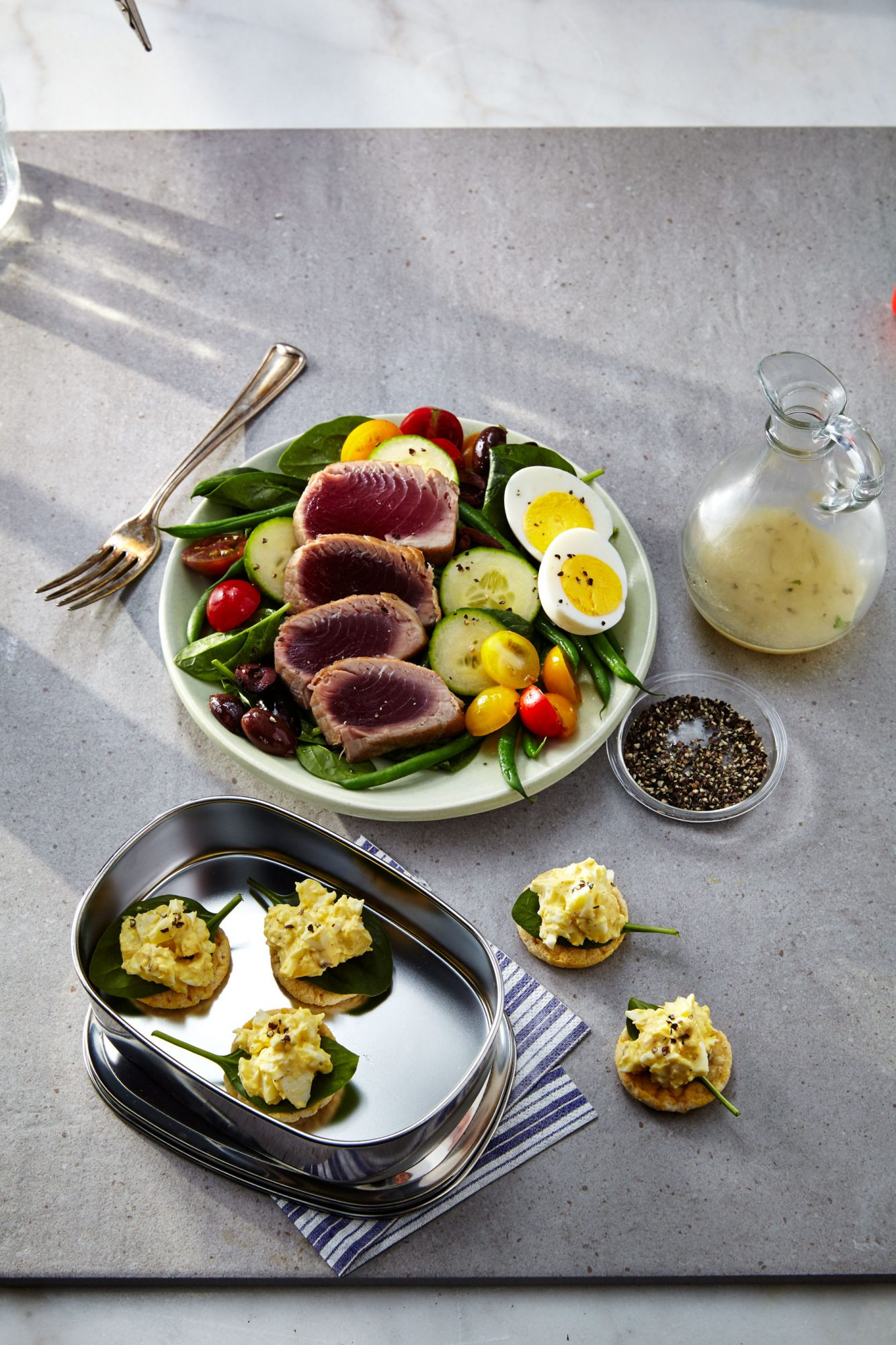 Spinach Salad Nicoise/Egg Salad on Rice Cakes image