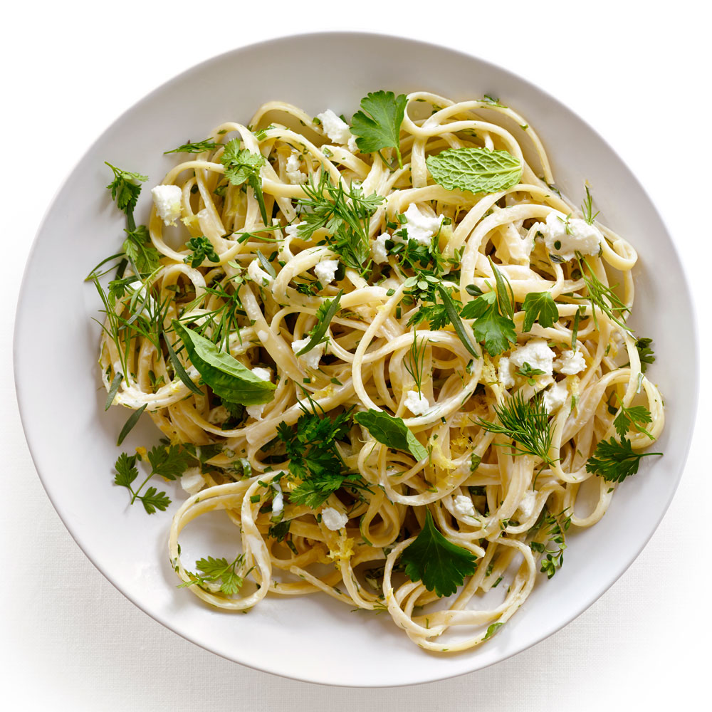Spring Herb Goat Cheese Linguine