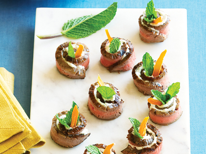 Chevre and Mango Steak Bites