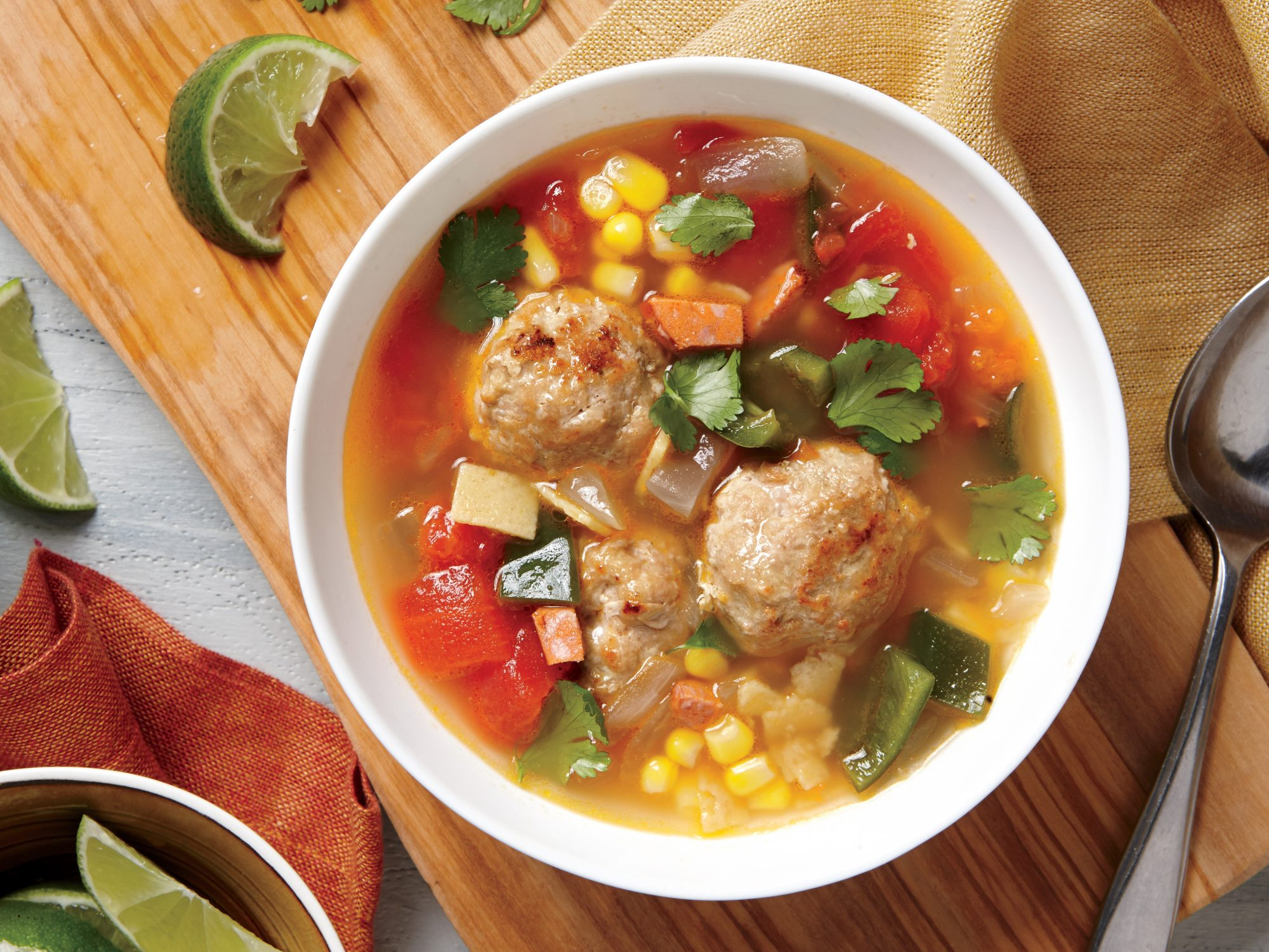 Tortilla Soup with Chorizo and Turkey Meatballs
