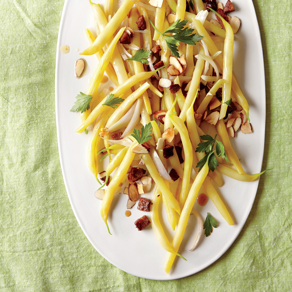Wax Beans with Chorizo, Almonds, and Parsley