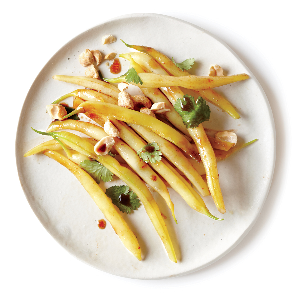 Wax Beans with Sriracha, Peanuts, and Cilantro