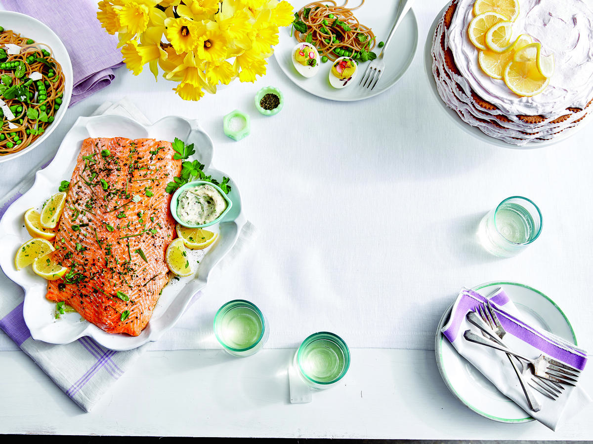 Whole Salmon Fillet with Cornichon Caper Sauce