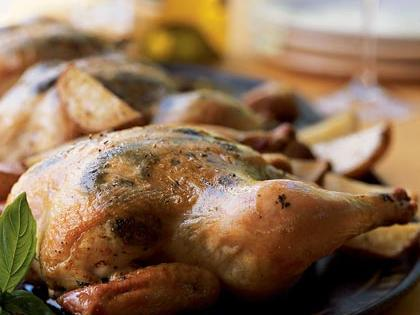 Take a break from turkey this year and serve Cornish game hens for your holiday dinner. When you rub a basil pesto under the skin of the hens, the flavor is infused throughout the meat. The potatoes are roasted alongside then hens, so you'll have your side dish as well.Recipe: Game Hens with Pesto Rub and Roasted Potatoes