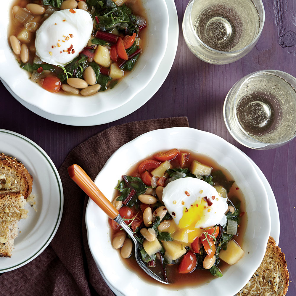 Swiss Chard and White Bean Soup with Poached Eggs