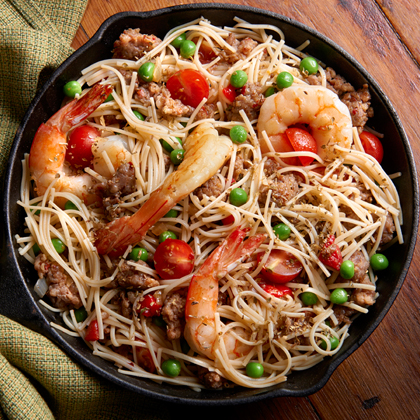 Spanish Style No Yolks® with Shrimp and Sausage