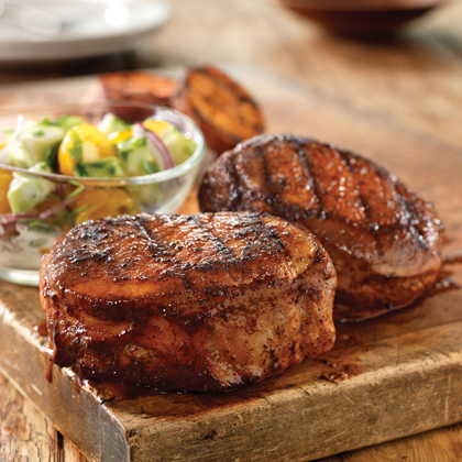 Smoky Hot Chops with Cool Cucumber-Tomato Salad