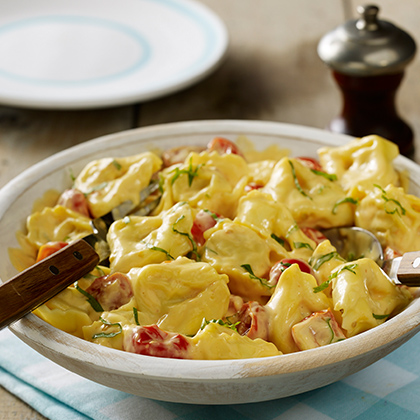 Four Cheese Tortellini with Tomatoes and Basil