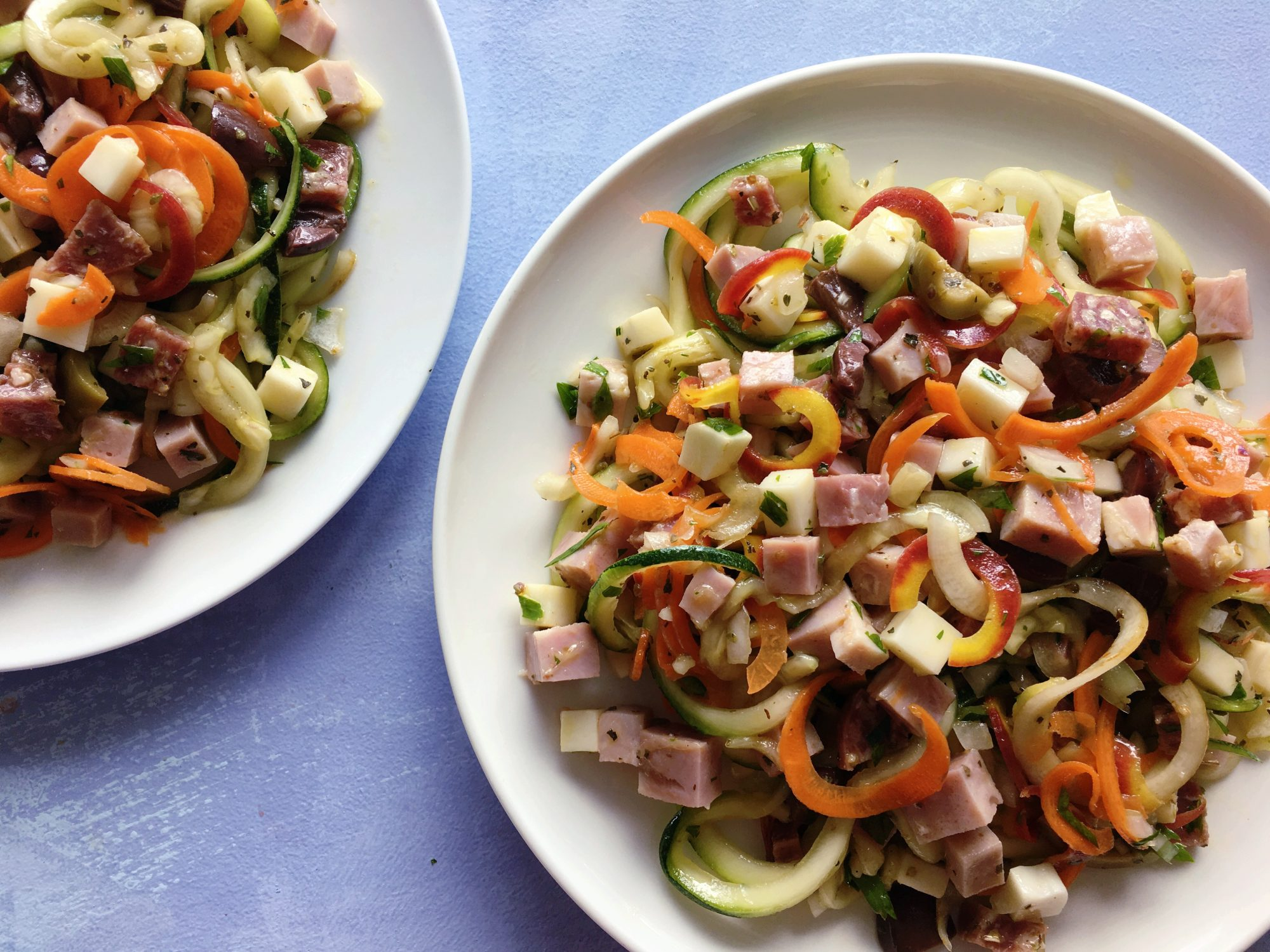 Muffuletta Zucchini and Carrot Noodle Salad