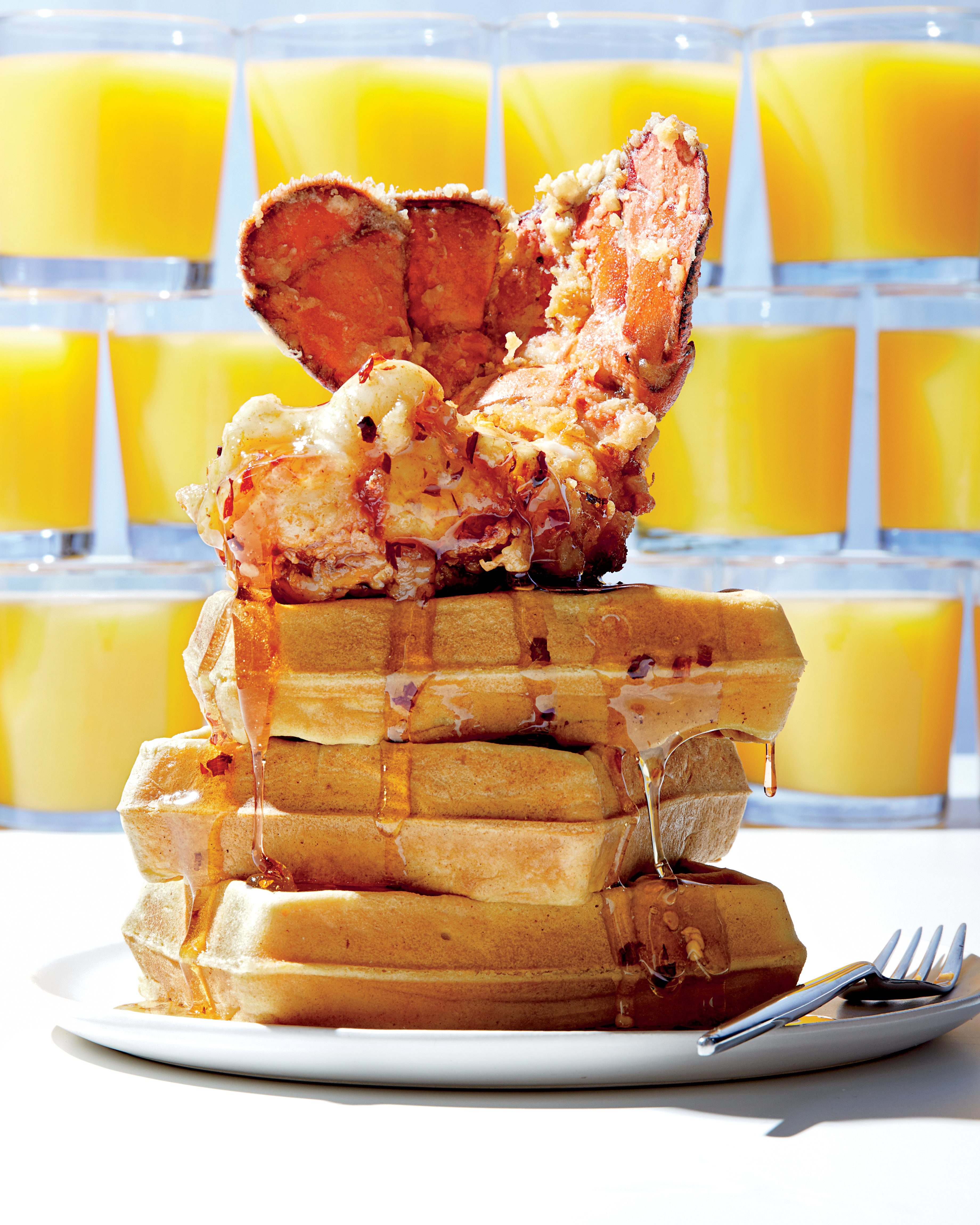 cl-Fried Lobster Tails with Sweet Corn Waffles and Spicy Maple Syrup