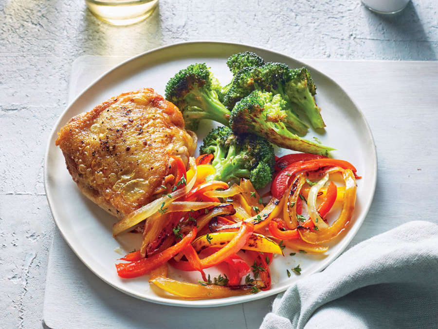 ck- Chicken Thighs with Peperonata and Roasted Broccoli
