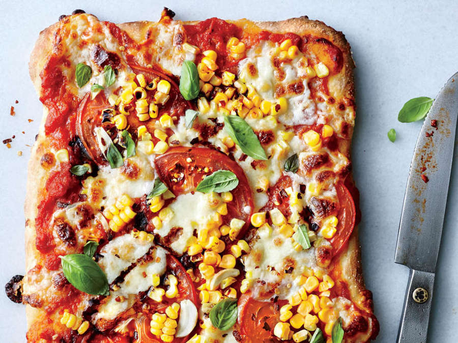 ck- Tomato, Basil, and Corn Pizza