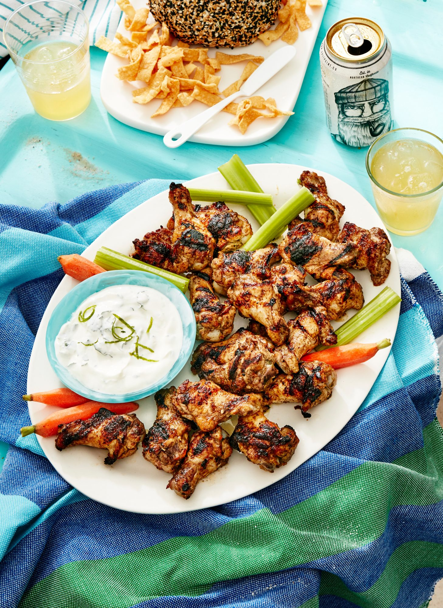 Jamaican Jerk Chicken Wings with Cilantro-Lime Ranch