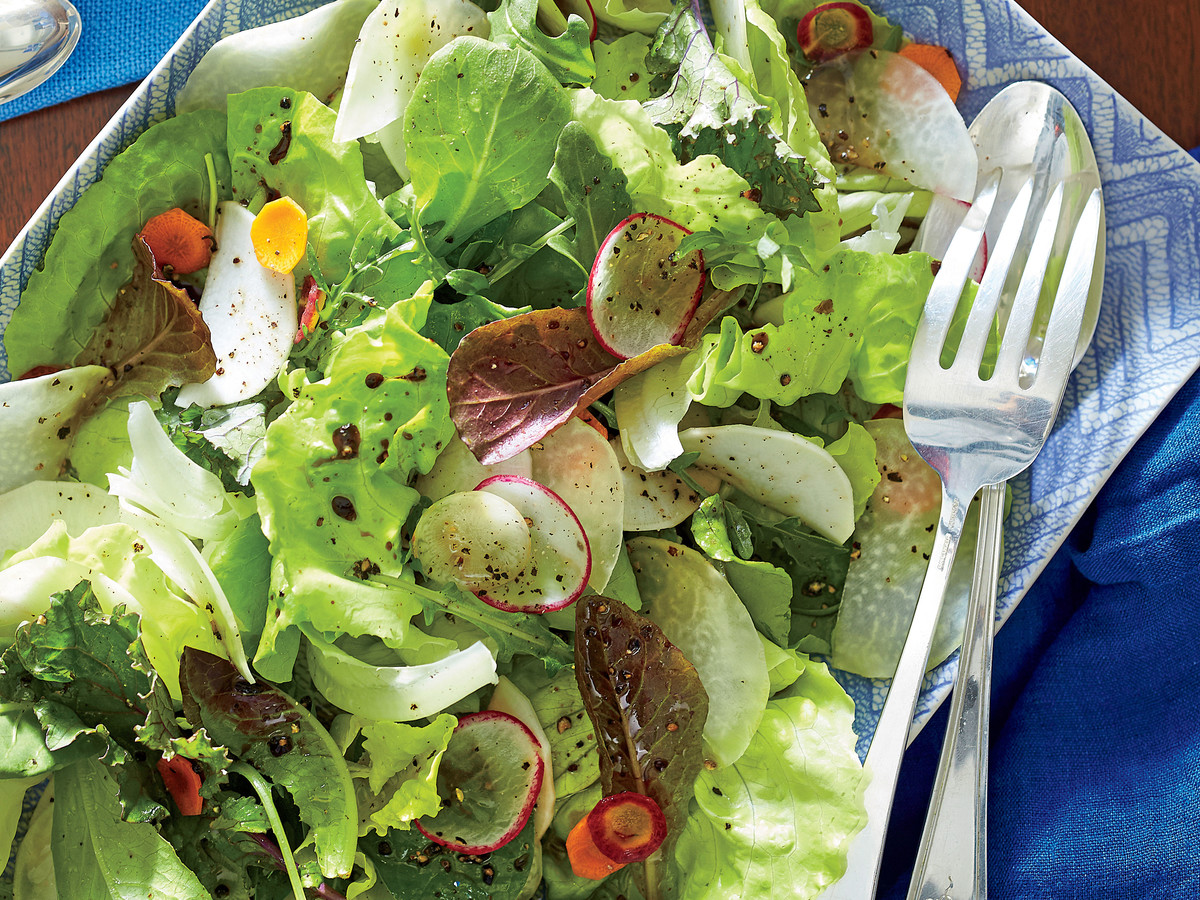 Young Lettuces and Shaved Winter Vegetables with Walnut Vinaigrette