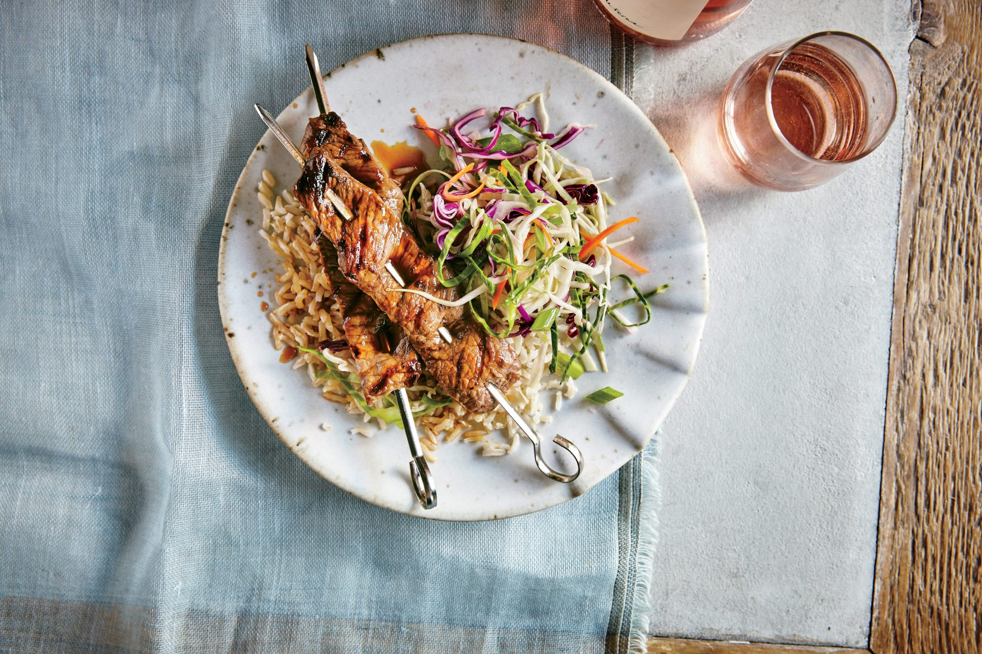 Glazed Beef Skewers with Ginger Slaw