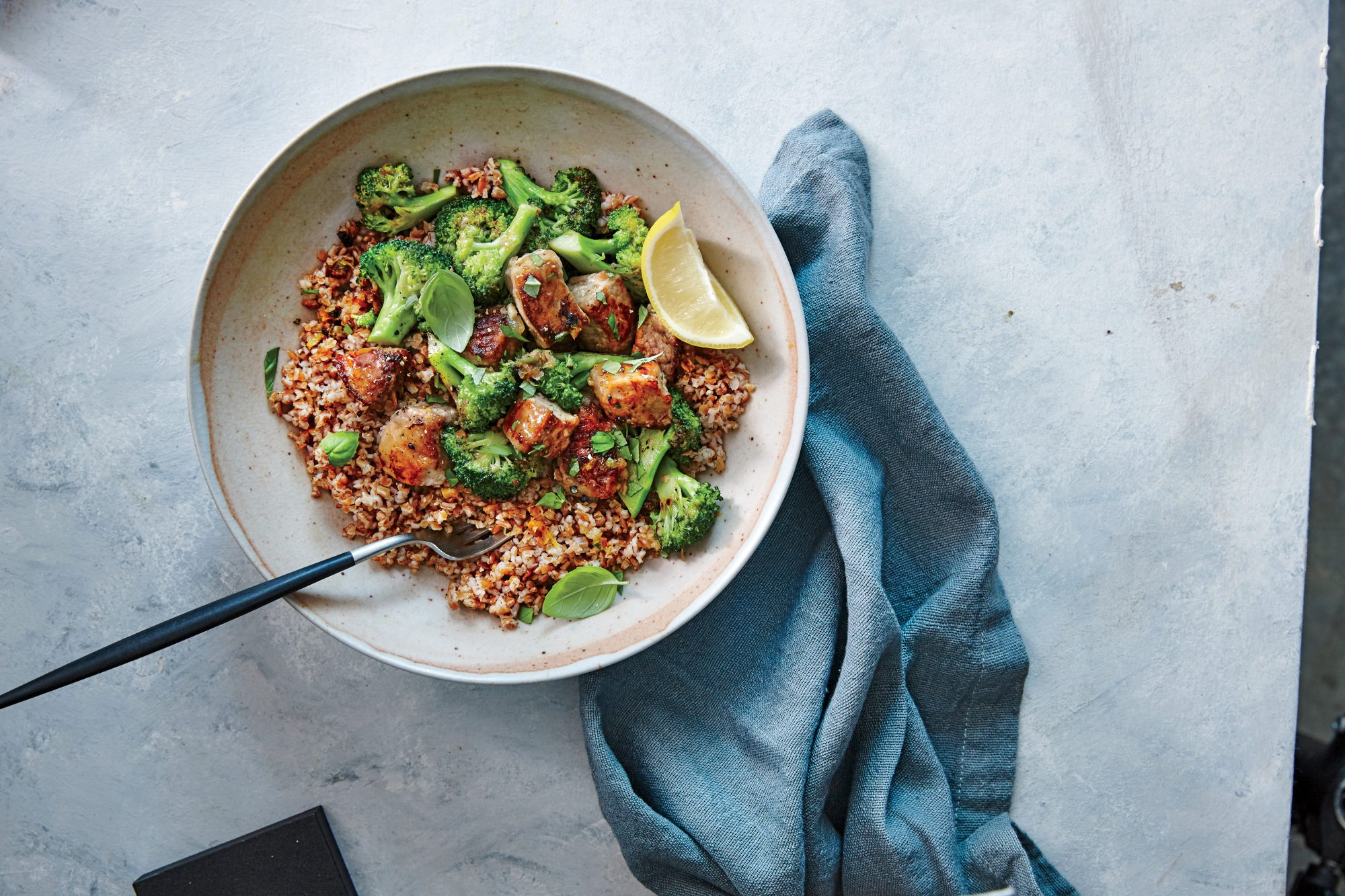 Lemon Garlic Pork and Broccoli Bulgur Bowl