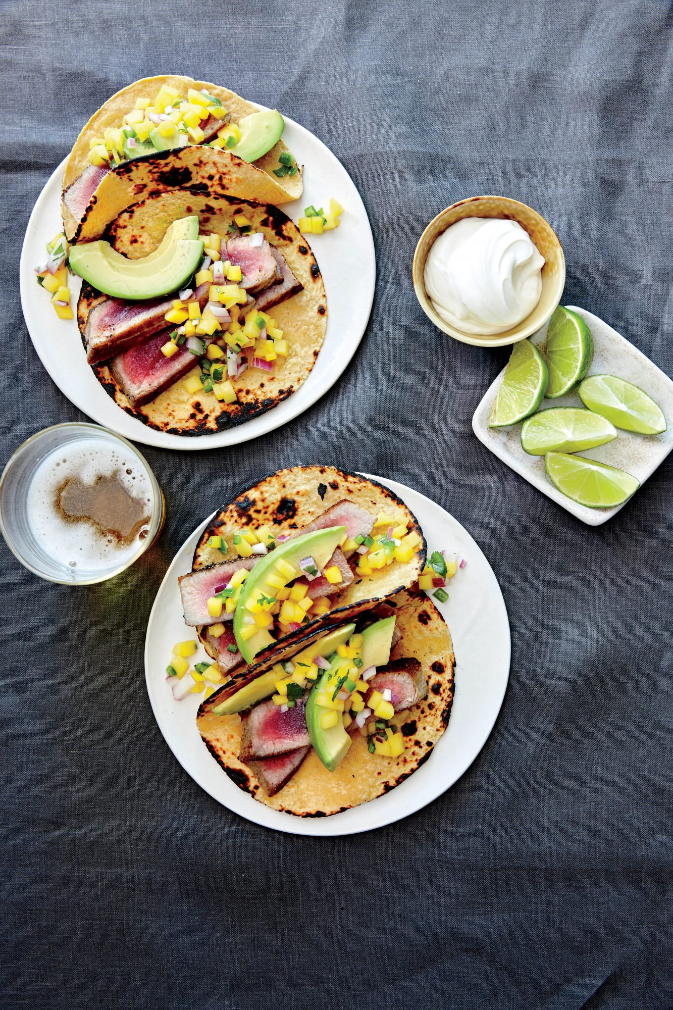 Pan Seared Tuna Tacos with Avocado and Mango Salsa